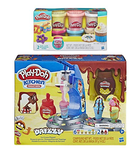 Play-Doh Kitchen Creations Drizzy Ice Cream Playset Featuring Drizzle Compound + Play-Doh Confetti Compound