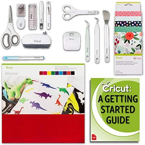 Cricut Maker Machine Fabric and Felt Samplers, Beginner Sewing Kit and Essentials Tools Bundle