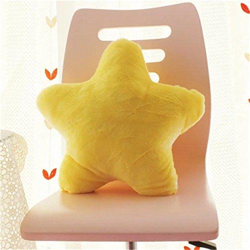 Amyseller - Cuscino di peluche a forma di stella, supporto per la schiena, morbido cuscino per la cameretta dei bambini, decorazione natalizia, Peluche, Giallo, 40 cm