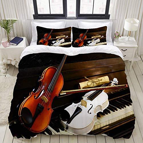 Set copripiumino in 3 pezzi di facile manutenzione e 2 fodere per cuscini, i tasti del pianoforte bianco sono uno spartito vintage per violini bianchi e in legno, copripiumino in microfibra di qualità
