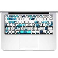 igsticker MacBook Air 13inch 2010 ~ 2017 専用 キーボード用スキンシール キートップ ステッカー A1466 A1369 Apple マックブック エア ノートパソコン アクセサリー 保護 012213 花 植物 青