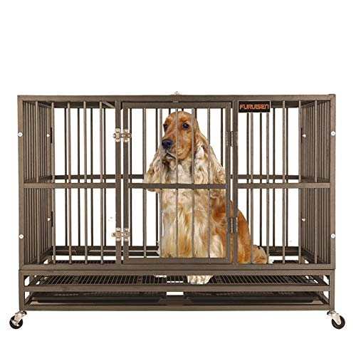 Heavy Duty Dog Crate Strong Metal Dog Kennel on Wheels, Large Dog Cage Steel for Large Dogs Indoor Outdoor with Double Doors, Double Reinforced Locks
