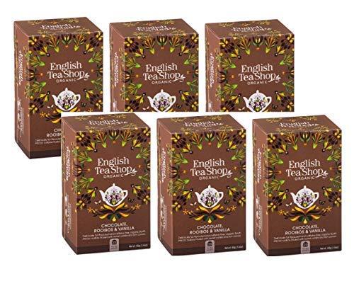 English Tea Shop - Té de hierbas orgánico, Rooibos, chocolate y vainilla, sin cafeína, galardonada colección de té de Sri Lanka, 6 x 20 sobres (240 gramos)