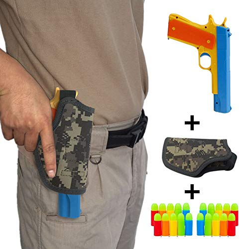Kensam Airsoft Gun, Colt 1911 Toy Pistol with 20 Pcs Colorful Soft Bullets, Ejecting Magazine and Camouflage Holster - Random Color