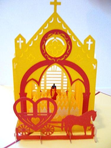 BC Worldwide Ltd 3D pop-up tarjeta de la boda de la iglesia día grande novia novio matrimonio aniversario regalo origami kirigami partido invitación arte de papel despedida de soltera gallina noche