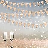 Pink Blume 78pcs Bandierine Triangolari Bandiera di Pennant Ghirlanda di Carta Glitter Decorazioni per Feste Compleanni Festa Anniversario di Matrimonio Doccia Nuziale(Champagne Oro)