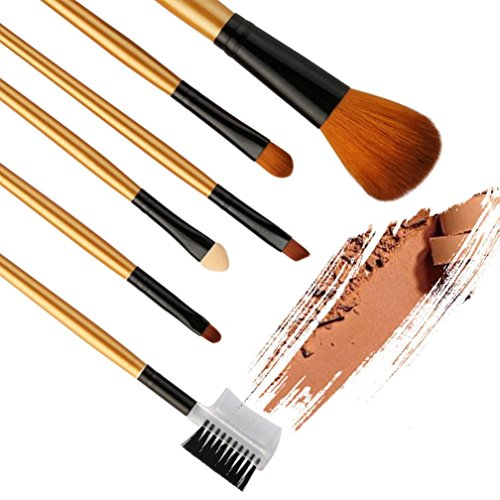 Grosses Soldes!!! LMMVP Set 6 Pinceaux de Maquillage Fond de Teint Poudre Eyeliner Contour Lustrage Correcteur (6 PCS, Noir)