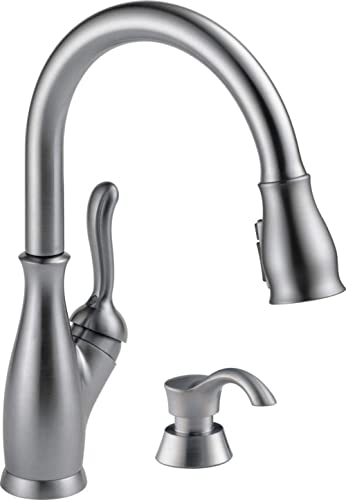 Delta Faucet RP50781AR Soap/Lotion Dispenser, Arctic Stainless AND Leland Single-Handle Kitchen Sink Faucet with Pull...