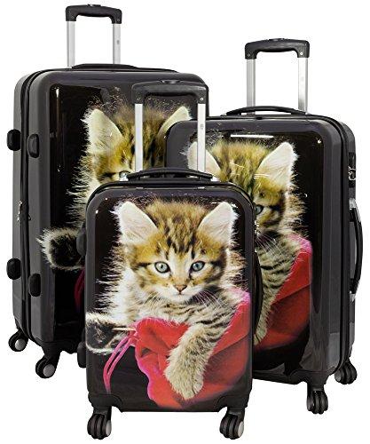 Trendyshop365 Hartschale Koffer-Set Katze 3-teilig Bunt