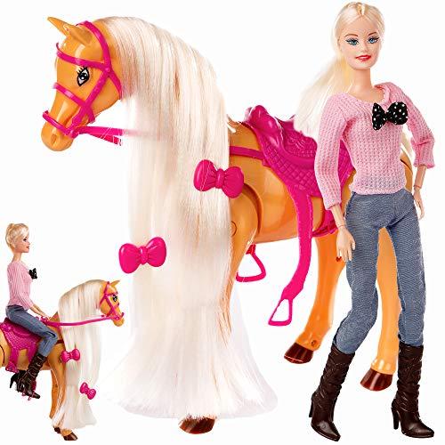 Kinderplay Traumpferd laufendes und Puppe, Mädchen Spielzeug ab 3 Jahren KP0976 Puppe mit Pferd Mähne beweglich Puppe mit bewegliche Knien