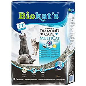 Biokat's Diamond Care MultiCat Fresh mit Duft - Feine Katzenstreu mit Aktivkohle speziell für Mehrkatzen-Haushalte - 1… 1