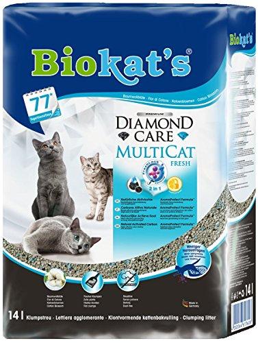 Biokat's Diamond Care Multicat Fresh, arena para gatos con fragancia – Arena aglomerante libre de polvo, con carbón activo y fragancia a flor de algodón – 1 bolsa de papel (1 x 14 l)