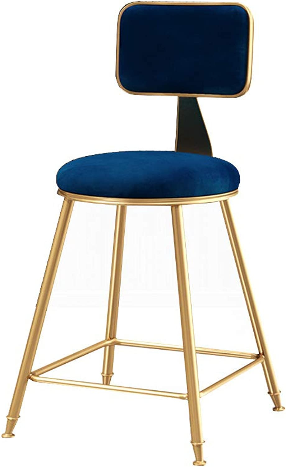 Modern Barstools Footrest Chair with Back Side Dining Chairs Counter Height   Velvet Cushion and Metal Legs for Bar Pub Dining Kitchen, bluee