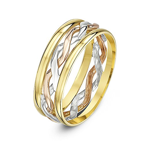 Theia 9 ct Yellow, White and Rose Gold 6 mm Celtic Highly Polished Wedding Ring, Size O