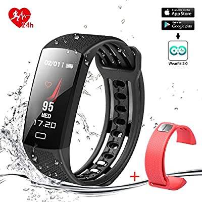 FERACE Smart Bracelet Smart Band Fitness Tracker Activity Tracker 24hours Continuous Heart Rate Monitor/Sleep Monitor/Calories Monitor IP67 Waterproof Pedometer USB Plug Charge with Replacement Band