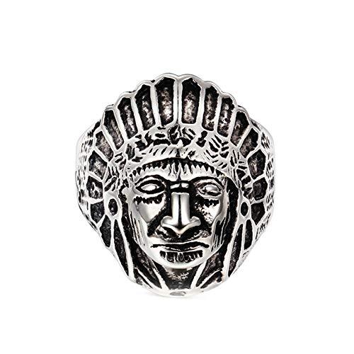 ANAZOZ Anillos de Calavera India Anillos de Plata Anillos Hombre Titanio Anillos Talla 25