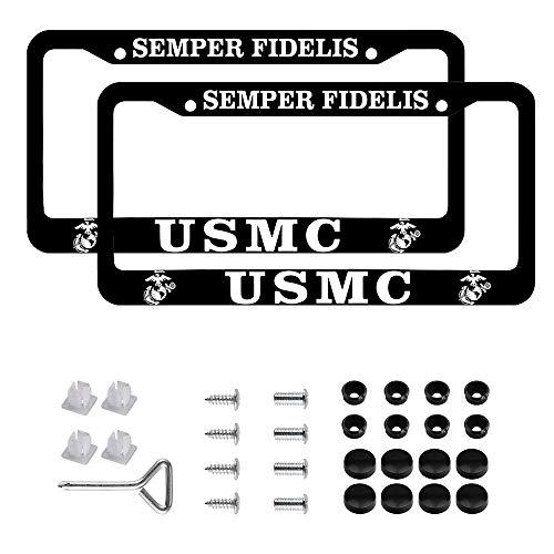 Car License Holder for USMC License Plate Frames – Black Aluminum – 12.5' x 6.5' US Marine Corps Veteran License Plate Holder
