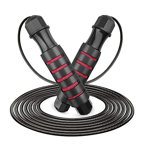 Cuerda para Saltar, MAKACTUA Cuerda de Salto Ajustable Sin Enredos de Alta Velocidad con Rodamientos de Bolas Rápidos y Mango de Espuma Suave para Hombre, Mujer-2.8M