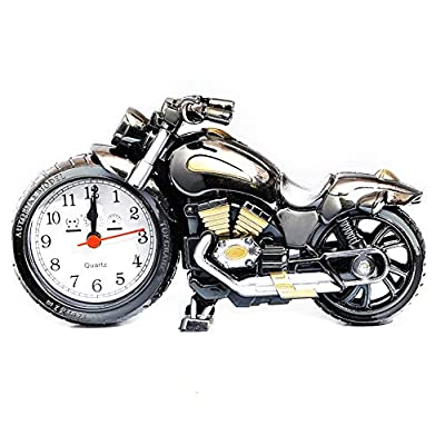 Yililay Motorcycle Alarm Clock Vintage Non Tick Wake-Up Motorbike Clock for Home Office Shelf Ornaments Students Adults Children Gifts Retro Tabletop Decor Clock (No Battery)