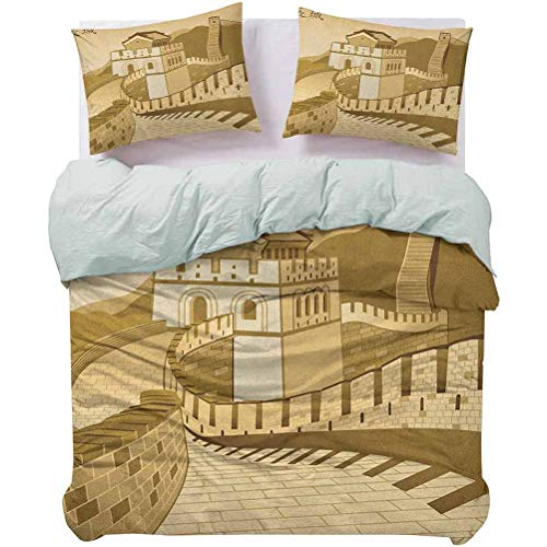 Duvet Cover Set Quilt Cover Great Wall of China Ancient Castle at Sunset Silk Road Barrier Old Cultural Heritage Print Perfect Fit Duvet Cover Soft, Attractive, Easy to Get Quilt In Cream, Queen Size