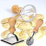 Albóndigas de hojaldre Sello de ravioles con Mango de bambú para albóndigas Maultaschen Pasta & Pierogi Ravioli-Antiguo Cortador de ravioles (1 Redondo, 1 Cuadrado y 1 Rueda de Rodillo)