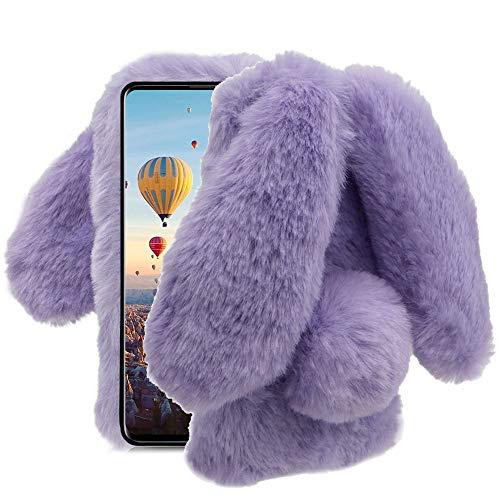 Aearl for Samsung Galaxy A20/A30 Case,Galaxy A20/A30 Rabbit Fur Ball Case,Luxury Cute 3D Homemade Diamond Winter Warm Soft Furry Fluffy Fuzzy Bunny Ear Plush Purple Phone Case Cover for Girls Women