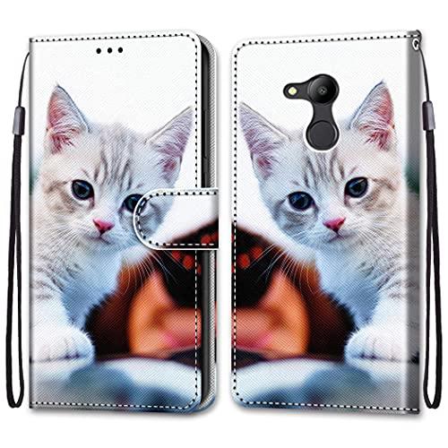 nancencen Kompatibel mit Huawei Honor 6C Pro / V9 Play Hülle,Wallet (Karten Slot) Schutzhülle PU Leder Flip Cover TPU Magnetische Handyhülle - Weißes Kätzchen