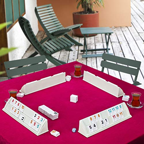 LaModaHome Star Travel Plastic White Rummy/Okey/101 Game Set with Tile Sack and Dices for Adults and Kids Perfect for Game Nights Team Game Get Together Outdoor Indoor