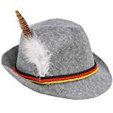 Skeleteen German Oktoberfest Alpine Fedora - Bavarian Swiss Traditional Trachten Felt Costume Hat with Feather for Kids and Adults Grey