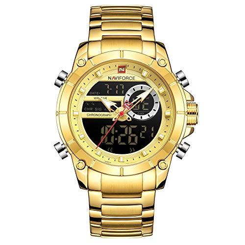 Relógio Masculino Naviforce NF9163 GG Pulseira em Aço Inoxidável - Dourado