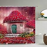 Dream Forest,Cortina De Baño De Poliéster con Estampado 3D, Cortina De Ducha De Dibujos Animados De Fantasía, 12 Ganchos, Decoración De Baño para El Hogar 72X72 Pulgadas 180X180 Cm