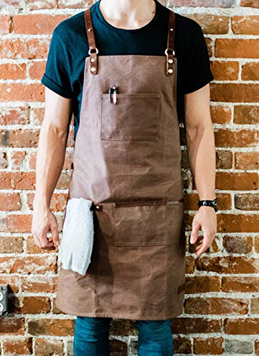 ApronMen Premium Waxed Canvas Barista Apron - Genuine Leather Straps & Accents - Hickory Brown - Work Apron with Towel Holder for Coffee Shops, Bartenders and Service Professionals