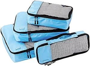 AmazonBasics 4 Piece Packing Travel Organizer Cubes Set, Sky Blue