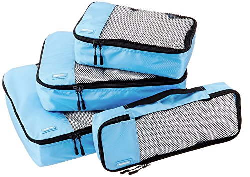 AmazonBasics 4 Piece Packing Travel Organizer Cubes Set, Sky Blue