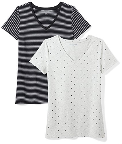 Amazon Essentials Women's 2-Pack Classic-Fit Short-Sleeve V-Neck Patterned T-Shirt, Black Stripe/Heart Print, Small
