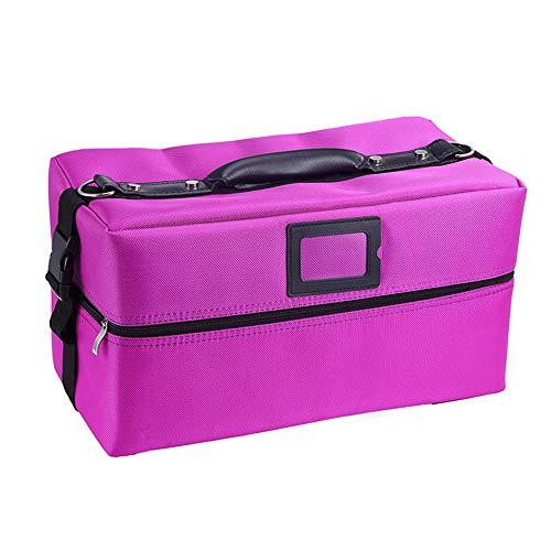Boîte de Rangement cosmétique rectangulaire,4 Plateau de Grande capacité Portable boîte beauté cosmétique Double Fermeture à glissière Organisation de Voyage Cas cosmétiques