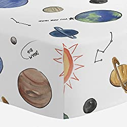 solar system space fitted crib sheet