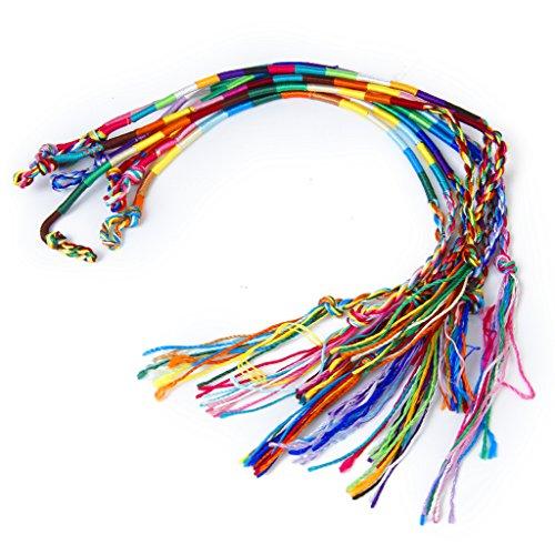 9 x Hippie Style Colourful Braided Thread Friendship Bracelets Wrist Ankle Bracelet---Random Colorr Wrists / Ankles