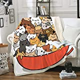 Cat Blankets for Cat Lover Cute Kitty Throw Blanket Boys Girls Blanket with Cats on It Pet Themed Soft Cozy Fuzzy Blanket for Bed Couch Living Room (Cartoon, Twin(60'x80'))