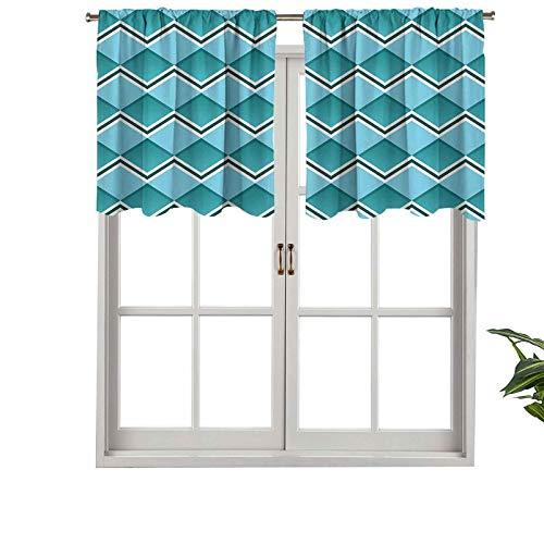 Hiiiman - Tenda moderna per finestra, a spina di pesce, a forma di diamante, motivo geometrico, motivo a zigzag, set di 2, 106,7 x 61 cm, decorazione per la casa