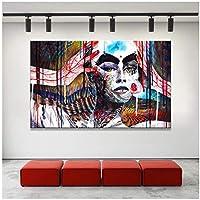 抽象芸術のポスターとキャンバスのHDプリント壁アート絵画リビングルームの装飾のための抽象的なカラフルな魔女の装飾的な写真-70x100cmx1フレームなし