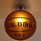 Créatif Plafonnier Conception de basket-ball Plafonnier Rond Verre Abat-jour Lampe,...