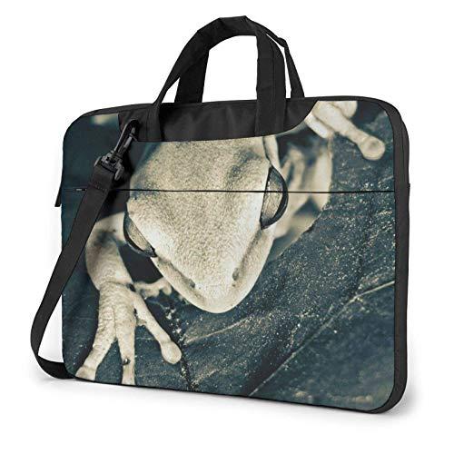 15.6 inch Laptop Shoulder Briefcase Messenger Frog Leaves Tablet Bussiness Carrying Handbag Case Sleeve