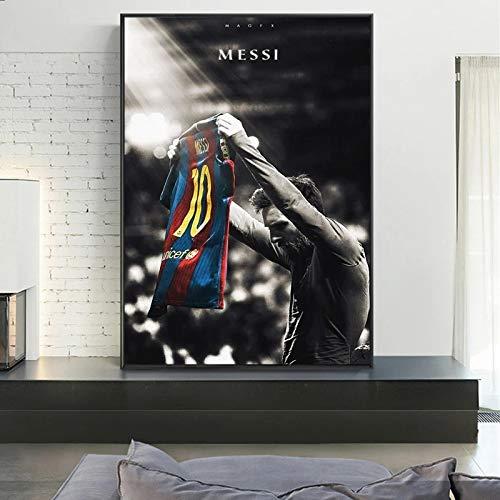 fdgdfgd Estrella del Deporte Lionel Messi póster Retro impresión Jugador de fútbol Lienzo Imagen en la Pared de la habitación decoración del hogar