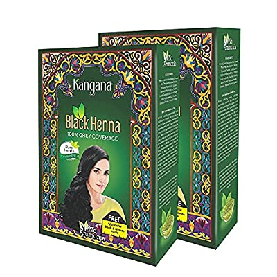 Kangana Black Henna Powder for 100% Grey Coverage   Natural Black Henna Powder for Hair Dye / Color   Naturals Henna Hair Color - 6 Pouches Inside- Total 60g (2.11 Oz) - Pack of 2