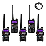 5 Pack BaoFeng Dual-Band Two Way Radio Black + 1 Baofeng Programming Cable (Support Win7, Win10)