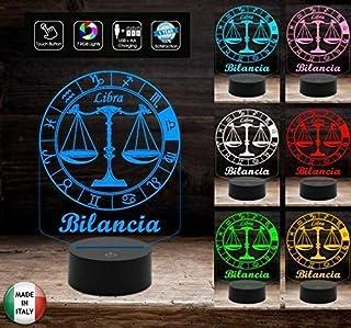 SEGNO ZODIACALE BILANCIA Lampada a led 7 colori selezionabili Idea regalo personalizzata da tavolo o scrivania ASTROLOGIA ...