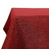 Deconovo Mantel de Mesa Rectangular Eefecto Lino 150 x 300 cm Rojo