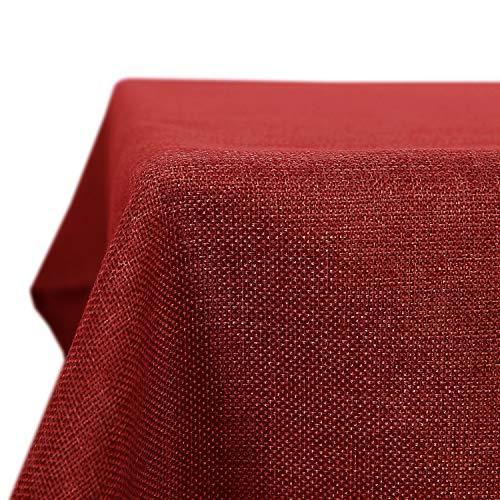 Deconovo Tischdecke Wasserabweisend Tischdecke Lotuseffekt Tischtuch Leinenoptik 130x160 cm Rot