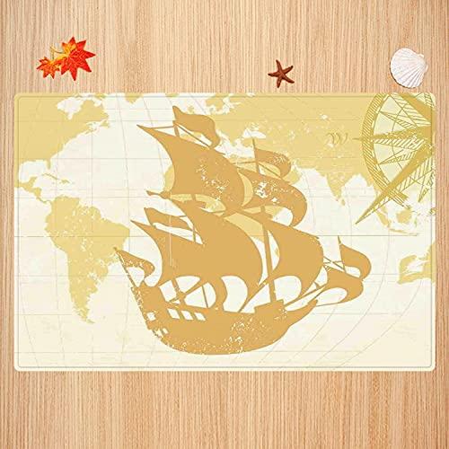 Tapis de Bain antidérapant,Nautique, Graphique Vintage à Double Exposition avec Carte du Vieux Monde Un Concept de bo Tapis Absorbant Tapis de Sol Microfibre Super doux40x60cm